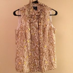 White and Gold with leopard print blouse